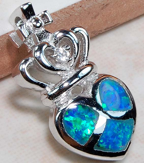 Power pendants divining mind australian opal white topaz sterling silver power pendant 78 mozeypictures Image collections