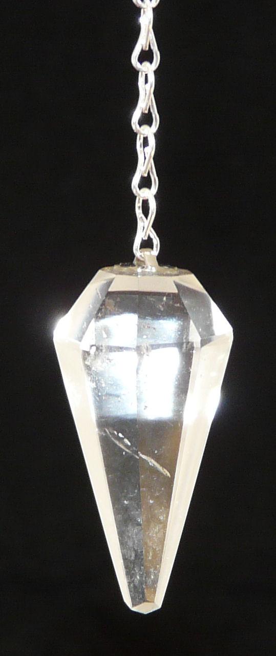 Clear Quartz Faceted Crystal Pendulum