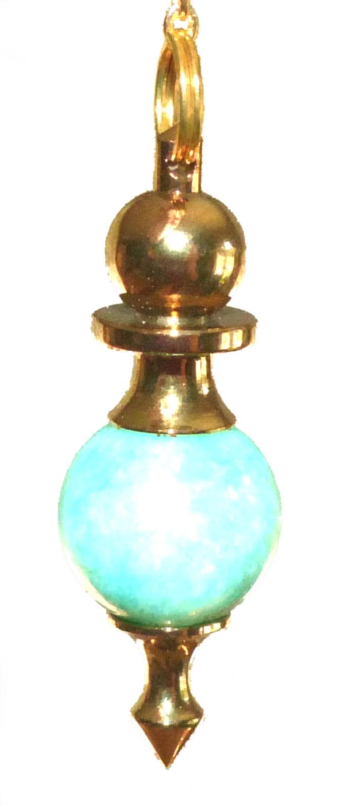 High Energy Dowsing Crystal Pendulum Amazonite Gold Treatment