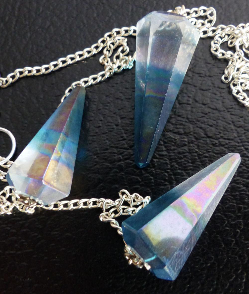 Aqua Aura Quartz Crystal Pendulum