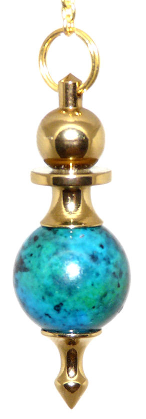 High Energy Dowsing Pendulum Chrysocolla Gold Treatment