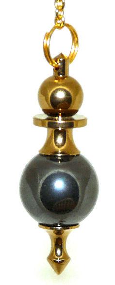 High Energy Dowsing Pendulum Hematite Gold Treatment