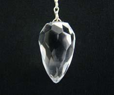 Clear Quartz Faceted Tear Drop Crystal Pendulum
