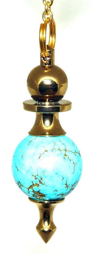 High Energy Dowsing Pendulum Turquoise Gold Treatment